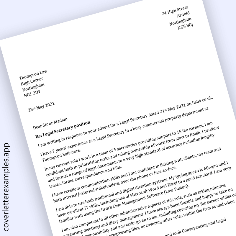 Legal Secretary Cover Letter Example - preview