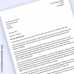 Bar Staff Cover Letter Example